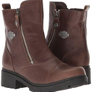 Harley Davidson Brown Zip Leather Toe Ankle Boots